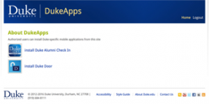 Duke Apps website